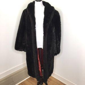 Vintage Black Faux Fur Mid Length Coat